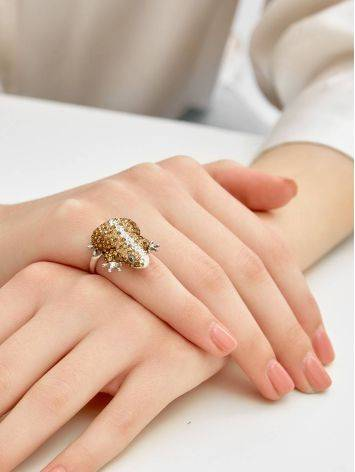 Silver Frog Ring With Champagne Crystals The Jungle, Ring Size: 6 / 16.5, image , picture 4