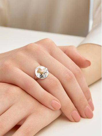 Silver Cocktail Ring With Cultured Pearl And Crystal The Serene, Ring Size: 7 / 17.5, image , picture 4