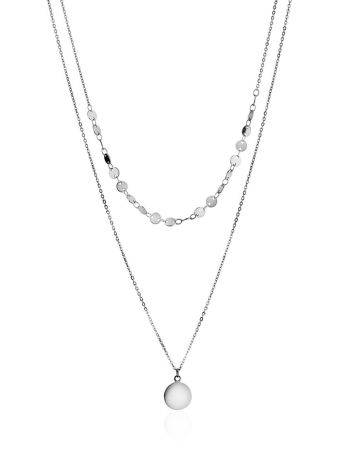 Fashionable Double Strand Silver Necklace The Liquid, image