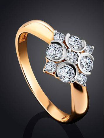 Refined Gold Crystal Ring, Ring Size: 8.5 / 18.5, image , picture 2