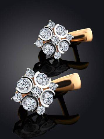 Classy Gold Crystal Earrings, image , picture 2