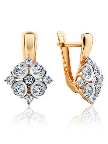 Classy Gold Crystal Earrings, image