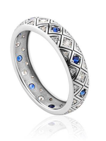 Chic Golden Diamond Sapphire Band Ring, Ring Size: 8 / 18, image