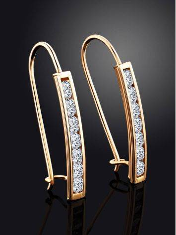 Chic Gold Crystal Earrings, image , picture 2