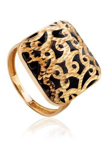Fabulous Ornate Gold Enamel Ring, Ring Size: 8 / 18, image