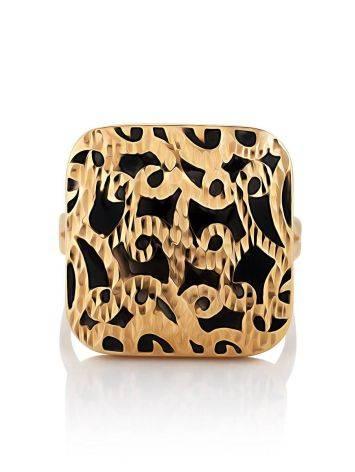 Fabulous Ornate Gold Enamel Ring, Ring Size: 8 / 18, image , picture 3