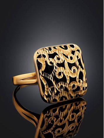 Fabulous Ornate Gold Enamel Ring, Ring Size: 8 / 18, image , picture 2