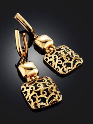 Gorgeous Gold Enamel Dangle Earrings, image , picture 2