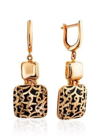 Gorgeous Gold Enamel Dangle Earrings, image