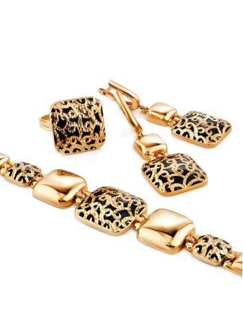 Gorgeous Gold Enamel Dangle Earrings, image , picture 3