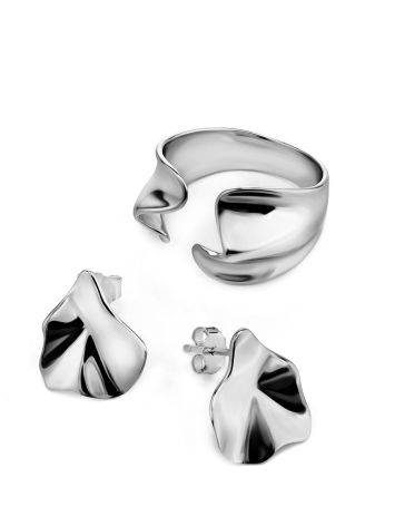 Sterling Silver Boho Textured Stud Earrings Liquid, image , picture 3