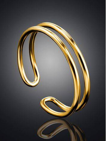 Stylish Gilded Silver Double Band Ring The ICONIC, Ring Size: Adjustable, image , picture 2