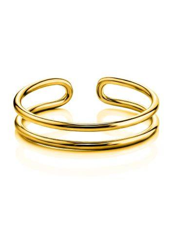 Stylish Gilded Silver Double Band Ring The ICONIC, Ring Size: Adjustable, image , picture 3