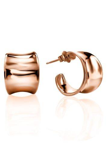 Rose Plated Sterling Silver Creole Stud Hoop Earrings The Liquid, image
