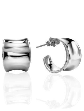 Sterling Silver Creole Stud Hoop Earrings The Liquid, image