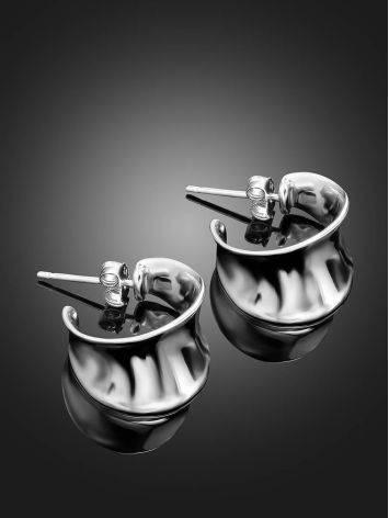 Sterling Silver Creole Stud Hoop Earrings The Liquid, image , picture 2