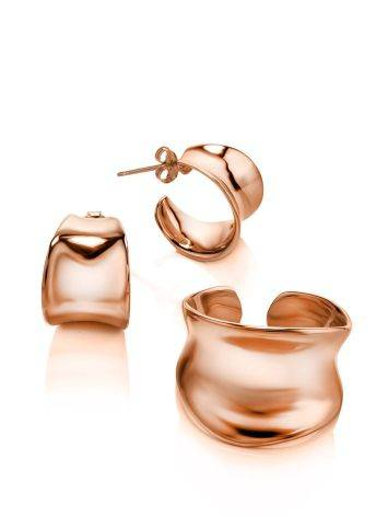 Rose Plated Sterling Silver Creole Stud Hoop Earrings The Liquid, image , picture 3