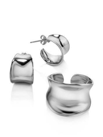 Sterling Silver Creole Stud Hoop Earrings The Liquid, image , picture 3