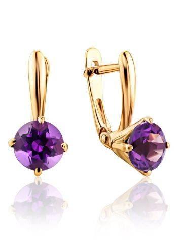 Stylish Gold Amethyst Latch Back Earrings, image