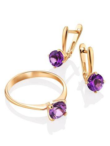 Stylish Gold Amethyst Latch Back Earrings, image , picture 3