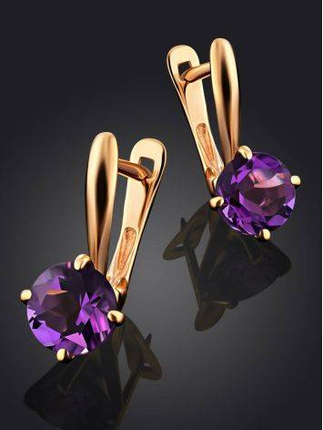 Stylish Gold Amethyst Latch Back Earrings, image , picture 2