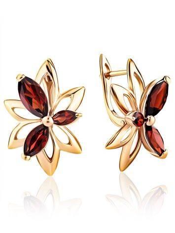 Wonderful Golden Garnet Earrings The Verbena, image