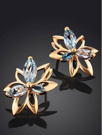 Floral Design Gold Topaz Earrings The Verbena, image , picture 2