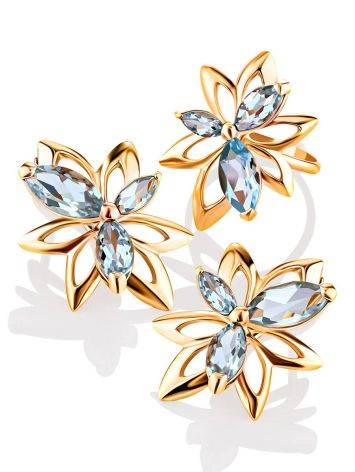 Floral Design Gold Topaz Earrings The Verbena, image , picture 4