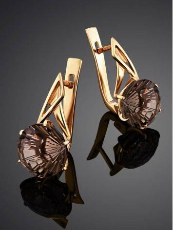 Fabulous Gold Smoky Quartz Earrings, image , picture 2