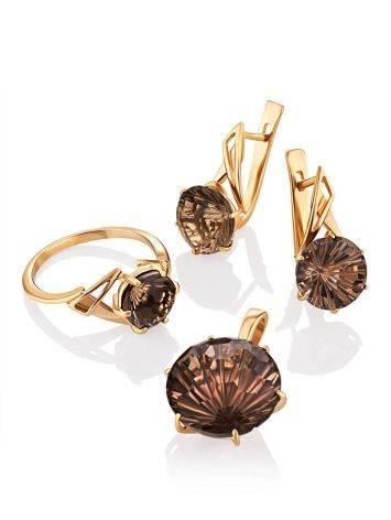 Fabulous Gold Smoky Quartz Earrings, image , picture 4