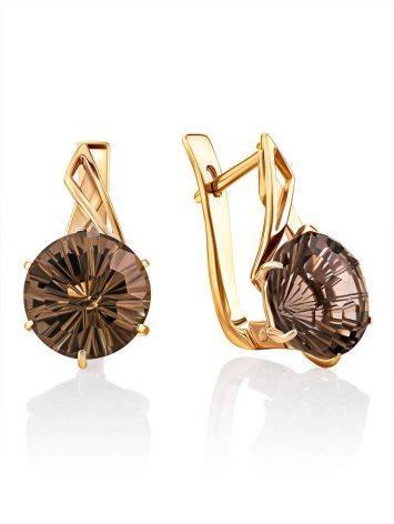 Fabulous Gold Smoky Quartz Earrings, image
