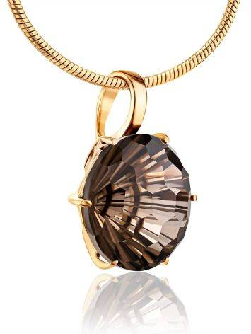 Fabulous Gold Pendant With Bold Faceted Smoky Quartz, image , picture 3