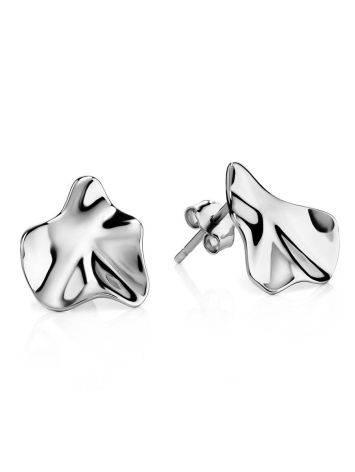 Sterling Silver Boho Textured Stud Earrings Liquid, image