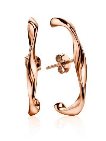 Hammered Rose Plated Silver Cuffed Earrings The Liquid, image