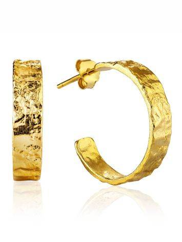 Textured Finish Gold Plated Silver Stud Earrings The Liquid, image