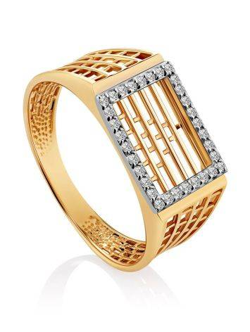 Bold Golden Signet Ring With Crystals, Ring Size: 11 / 20.5, image