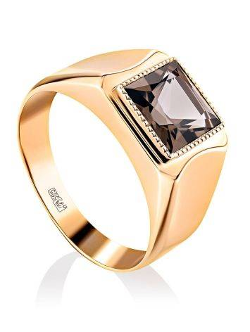 Statement Golden Signet Ring With Quartz, Ring Size: 12 / 21.5, image