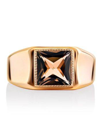 Statement Golden Signet Ring With Quartz, Ring Size: 12 / 21.5, image , picture 3