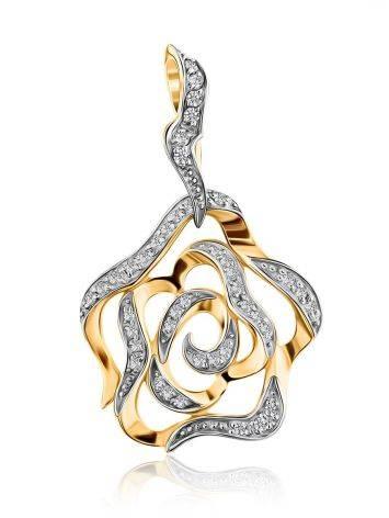 Floral Gold Crystal Pendant, image