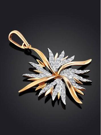 Chic Starburst Motif Gold Crystal Pendant, image , picture 2