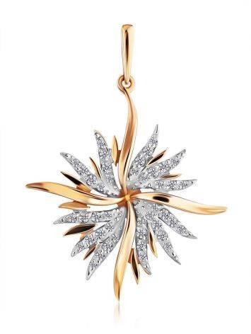 Chic Starburst Motif Gold Crystal Pendant, image