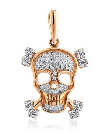 Gold Crystal Skull Pendant, image