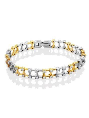 Fashionable Two Tone Gold Crystal Bracelet, image