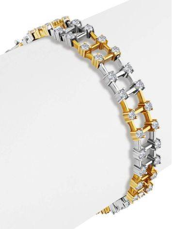 Fashionable Two Tone Gold Crystal Bracelet, image , picture 3