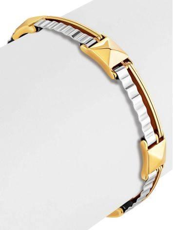 Stylish Unisex Two Tone Gold Bracelet, image , picture 3