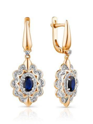 Elegant Gold Sapphire Diamond Dangle Earrings, image