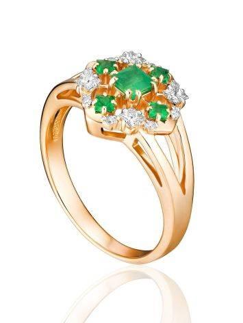 Vintage Style Gold Diamond Emerald Ring, Ring Size: 6.5 / 17, image