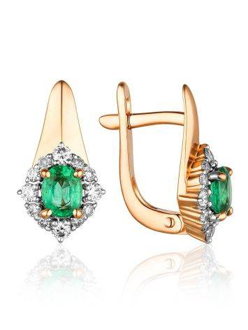 Classy Gold Diamond Emerald Earrings, image