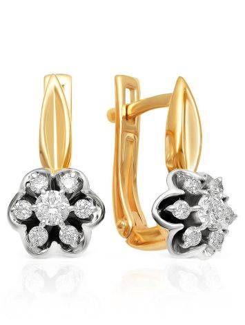 Classic Gold Diamond Latch Back Earrings, image