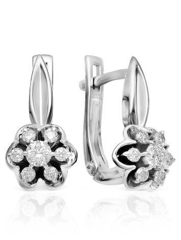Elegant White Gold Diamond Latch Back Earrings, image